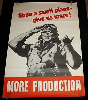 """She's A Swell Plane - Give Us More! WWII Poster by Robert Riggs 40x28"""" Tuskegee"""