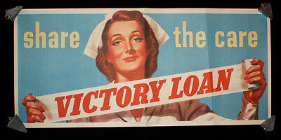 """1945 WWII """"Share the Care"""" Victory Loan Poster 8.5"""" x 18.5"""""""