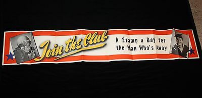 JOIN THE CLUB WWII Poster 5 ft Banner * Stamp A Day for Man Who's Away Army Navy