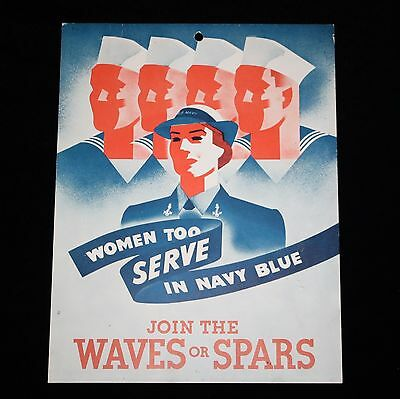 """Join The WAVES or SPARS - Women Too Serve In Navy Blue Recruitment Ad 10.5"""" x 8"""""""