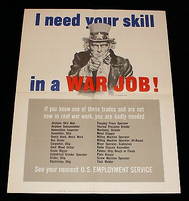 """Uncle Sam WWII USA Propaganda Poster """"I Need Your Skill In A War Job!"""""""