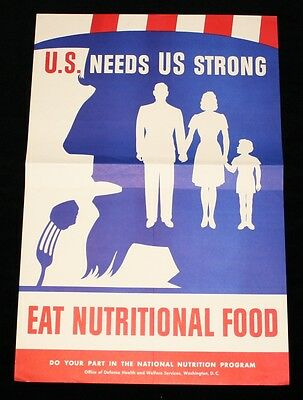"""Authentic WWII """"U.S. Needs Us Strong Eat Nutritional Foods"""" Poster"""
