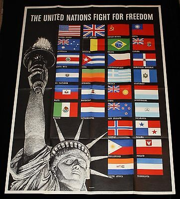 """40""""x28"""" """"United Nations Fight For Freedom"""" Lady Liberty WWII Poster Allied Flags"""