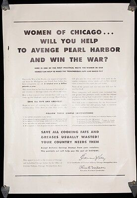 Women of Chicago, Help Avenge Pearl Harbor, Save Waste Fats & Grease WWII Poster