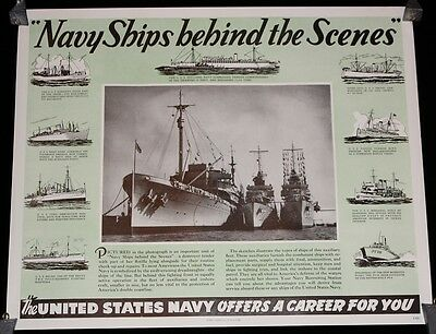"""WWII """"Navy Ships Behind the Scenes"""" United States Navy Recruitment Poster"""