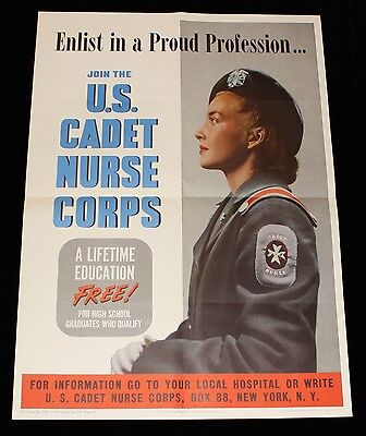 U.S. Cadet Nurse Corps 'Enlist in a Proud Profession' WWII Recruitment Poster