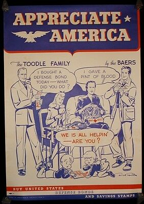 Appreciate America - The Toodle Family by the Baers - WWII Poster