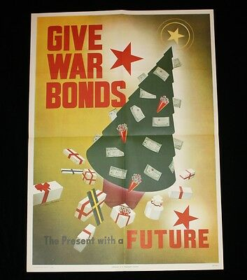 Authentic WWII Give War Bonds the Present with a Future CHRISTMAS Poster 20 x 28