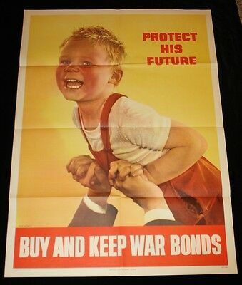 """40"""" x 28"""" PROTECT HIS FUTURE WWII War Bonds Poster Authentic 1944 Ruth Nichols"""