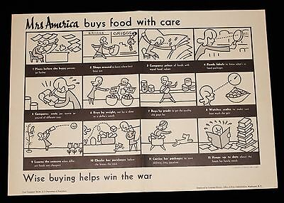 """Rare WWII Poster """"Mrs. America Buys Food With Care"""""""