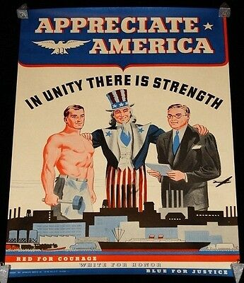 """Appreciate America """"In Unity There Is Strength"""" WWII Poster USA Uncle Sam"""