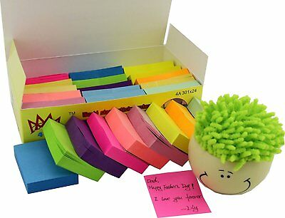 """Post-It Sticky Notes  Memo Reminder Neon Colors 1 1/2"""" x 2"""" 24 Pads 100 Sheets"""