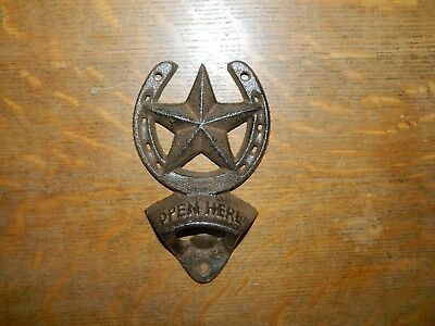 Rustic Large Horseshoe Star Wall Mount Bottle Opener Beer Soda Cast Iron