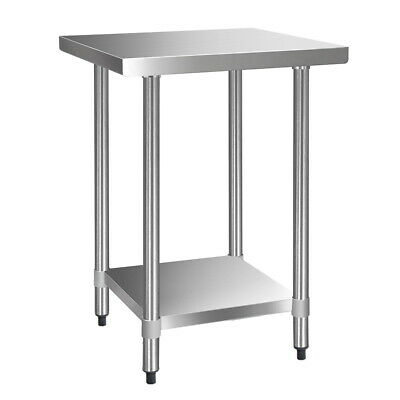 NEW 610x610mm Heavy Duty Quality 430 Stainless Steel Kitchen Work Bench Table
