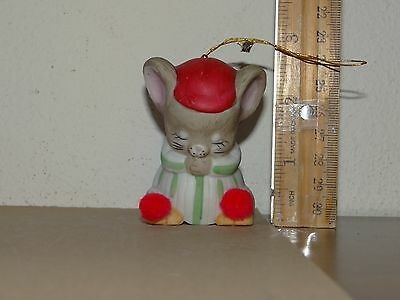 Jasco 1980 Bisque Porcelain Critter Bell Mice or Mouse Sleeping