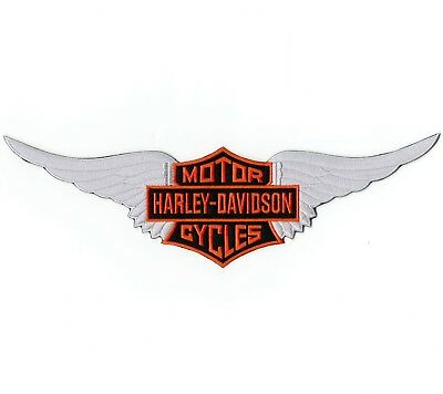 """Harley Davidson Wings Patch Silver Embroidered 12"""""""