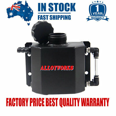 Universal 1L Aluminum Coolant Radiator Overflow Recovery Water Tank /Can Black