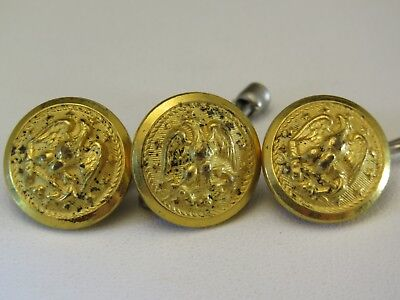 Three Vintage US NAVY Eagle & Anchor Cuff Buttons 15mm Waterbury Button Co.