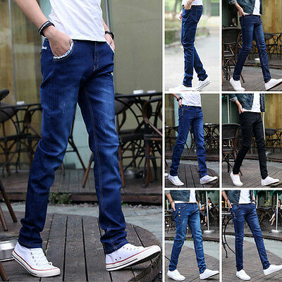 Men's Slim Fit Straight Washed Denim Pants Trousers Casual Long Jeans Clearance