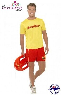 Mens Licensed Baywatch Lifeguard Red Yellow T-Shirt Shorts 80s Costume Size M-L