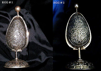 2 OLD REPOUSSE FABERGE INSPIRED SOLID SILVER EGGS ON STANDS  w/ PERFUME BOTTLES