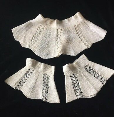 Antique/VTG Lace Crochet High Collar Cuff Victorian Edwardian Dress Trim Costume