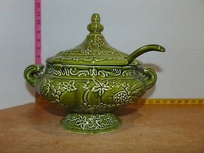 Vintage Green Ceramic Soup Tureen With Matching Ladle Fruit Motif