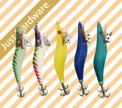 New 6 pcs 3.0 3.5 Squid Jigs Jig Fishing Tackle Hooks Size #3 3.5 assorted color