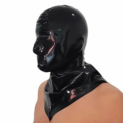 Brand New Black Latex Rubber Hangman's Hood Mask HOT (one size)