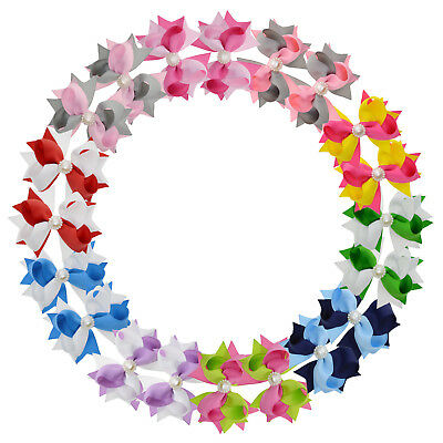 """3"""" Mixed Color Twisted Loopy Spike Hair Bows Clip for Girls Toddlers 20PCS"""
