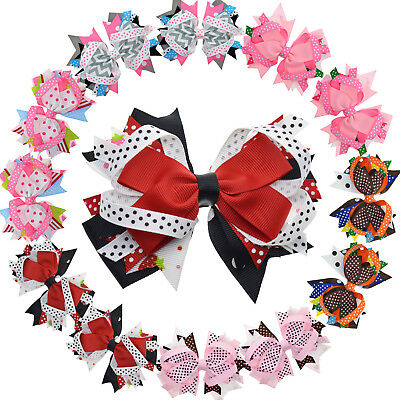 """4.5"""" Girls Toddlers Kids Multi-layer Stacked Hair Bows with Clip Pack of 12"""