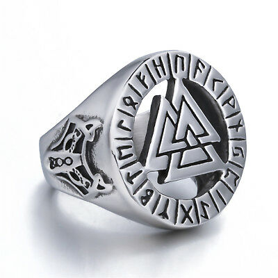 Men Valknut Odin' Symbol of Norse Viking Brave Wolf Warrior Stainless Steel Ring