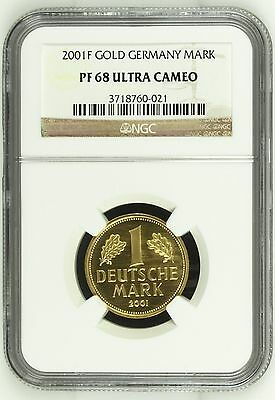 Germany 2001F Gorgeous Gold Coin >>> Last German Mark (NGC PF 68) Proof in GOLD