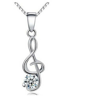 Women 925 Sterling Silver Plated Music Note Crystal Pendant Necklace Jewelry