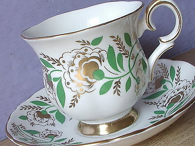 Vintage Crown Staffordshire England green gold & white bone china tea cup teacup