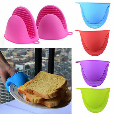 1 Pair Silicone Oven Gloves Heat Proof Resistant Kitchen Cooking Mitt Pot Holder
