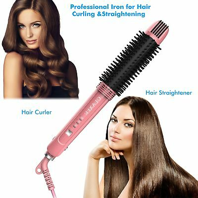 OLAXER- 3-in-1 Ceramic Hair Straightener, Hot Brush  Curling Iron – with Ionic
