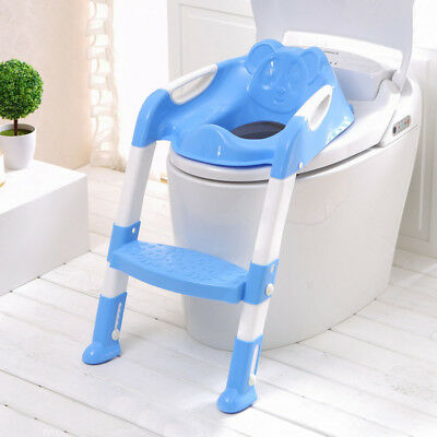 Uk Kids Baby Child Blue Toddler Potty Loo Training Toilet Seat & Step Ladder