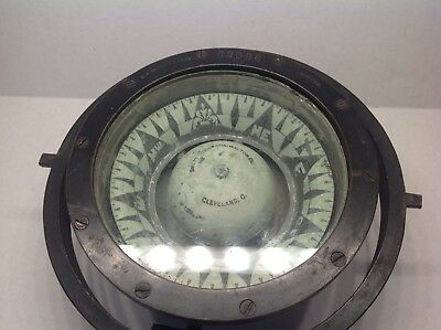 "Antique E.S. Ritchie & Sons Boston 9"" Marine Maritime Compass  #62086"
