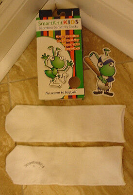 Smart Knit Kids Socks - SEAMLESS - White Color - Size (L) Large - New In Box