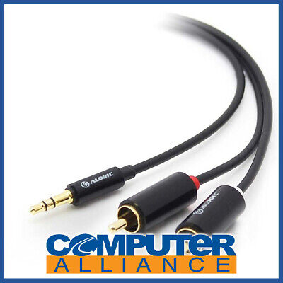 ALOGIC Premium 2m 3.5mm Stereo Audio to 2 X RCA Stereo Male Cable (1) Male to (2
