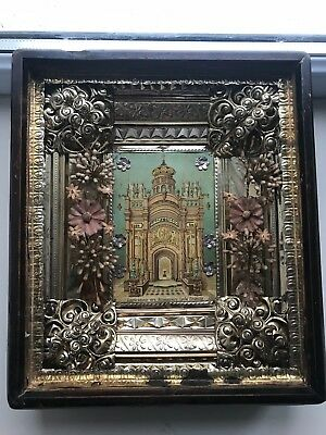 """Antique 19c Russian Orthodox Paper Wood Icon """"Church of the Holly Sepulcher"""""""