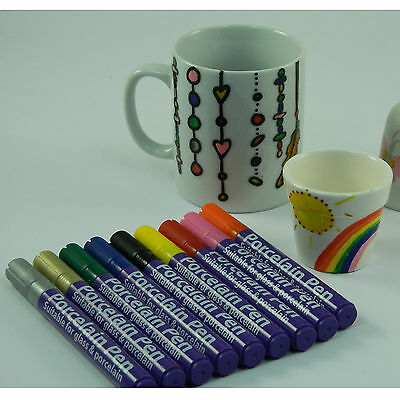 Coloured Porcelain, Ceramic & Glass Marker Pen for Mugs & Plates Bake to Seal