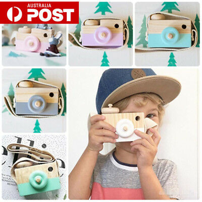 Kids Wood Camera Children Room Decor Natural Wooden Camera Neck Toy Gifts GT