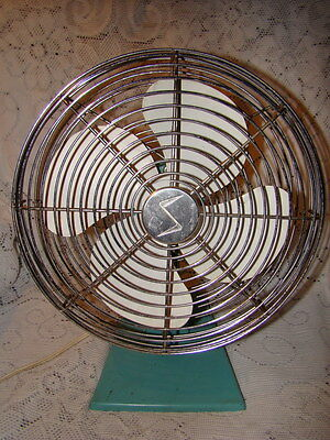 Vintage Green Superior Electic Fan One Speed