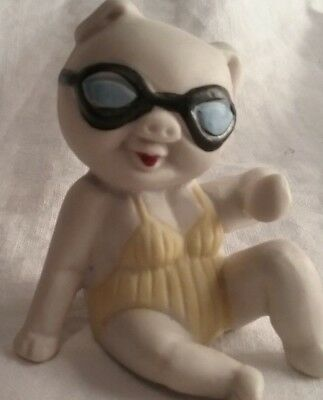 vintage porcelain pig figure collectible  beach swimsuit and goggles