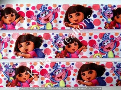 """Dora the explorer & Boots Grosgrain Ribbon 7/8"""" sold by 2 M -Craft -Hair Bow"""