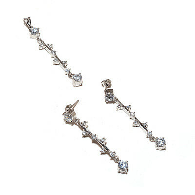 Stylish Clear White Cubic Zirconia Sterling 925 Solid Silver Dangler Jewelry Set
