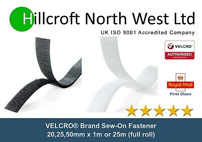 Genuine VELCRO® Brand Sew On Tape Hook & Loop Black White 20/25/50mm x 1m, 25m