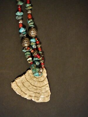 Ancient Pottery Shard Necklace W/turquoise & Red Coral